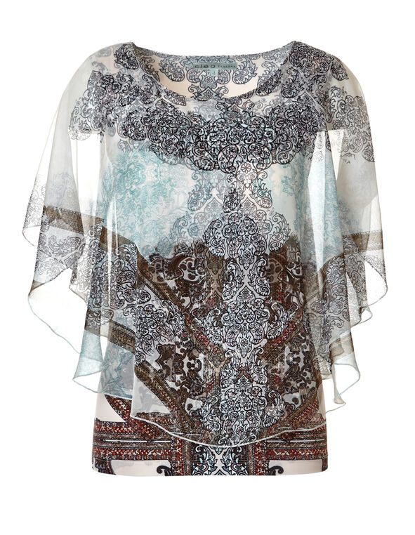 Mixed Print Caftan Blouse, Ivory/Mint/Dk. Taupe/Navy, hi-res