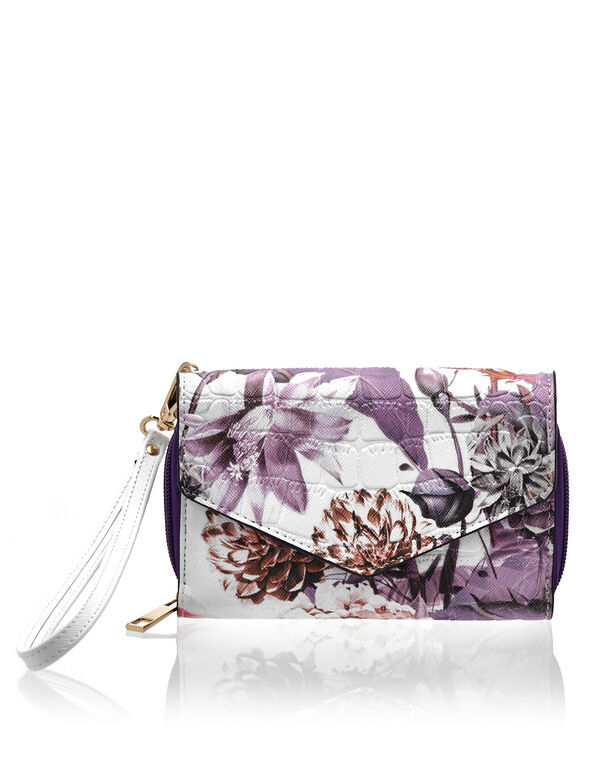 Floral Print Phone Wallet, White/Purple, hi-res