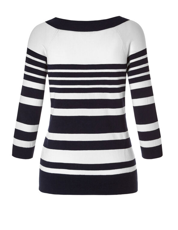 Striped Lace Up Sweater, Navy/White, hi-res