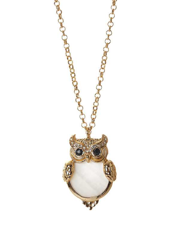 Gold Owl Pendant Necklace, Gold/Ivory, hi-res