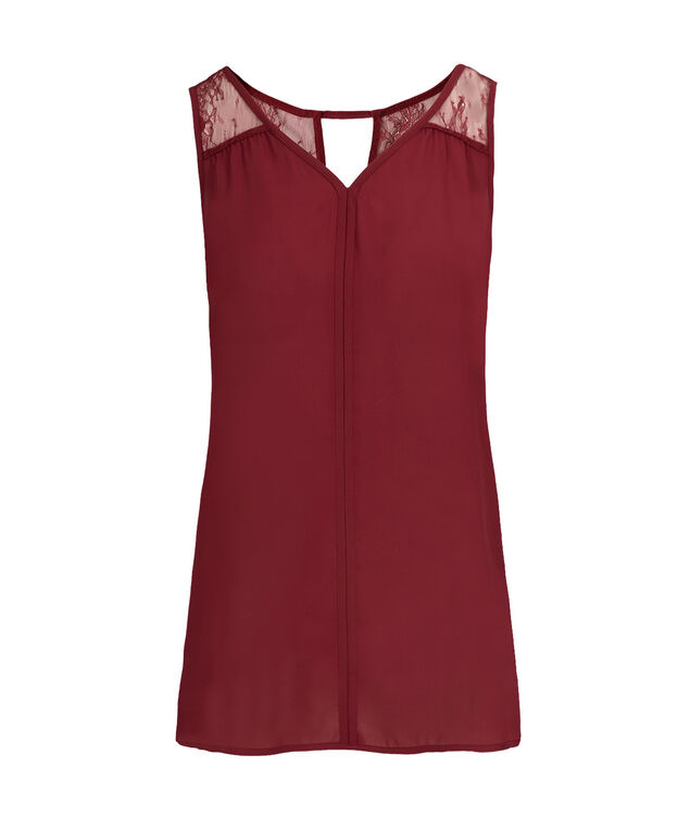 Crochet Trim Tank, Cranberry, hi-res