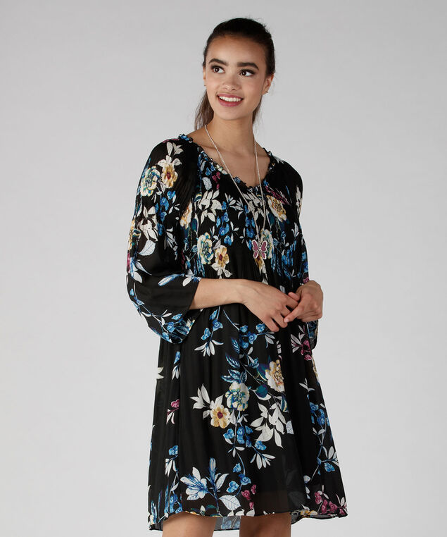 Pleated Georgette Shift Dress, Black Floral Print, hi-res
