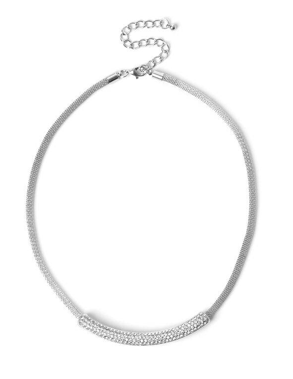 Silver Crystal Stone Choker, Silver, hi-res