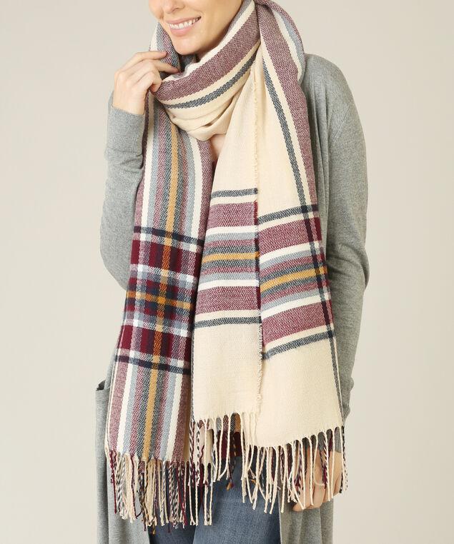 multi-stripe blanket scarf, CREAM MULTI, hi-res