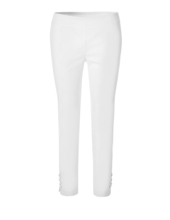 White Lace Up Pull On Pant, White, hi-res