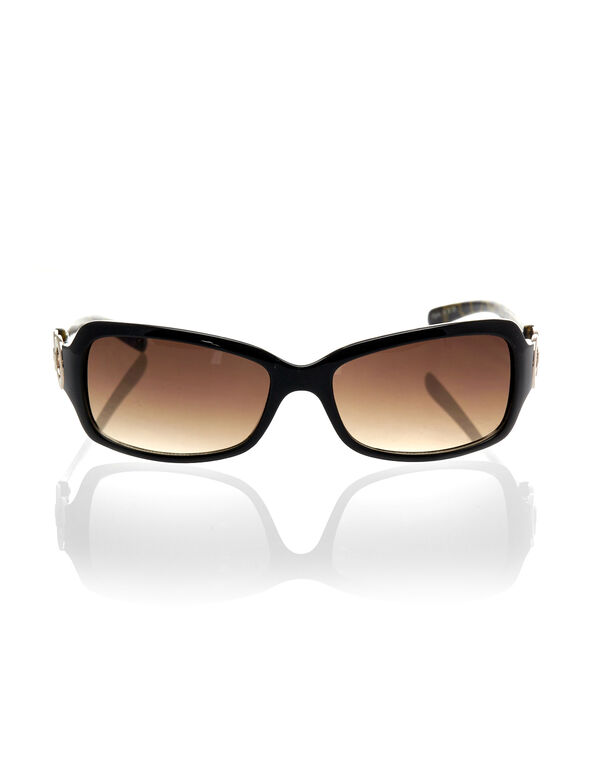 Black Animal Print Sunglasses, Black, hi-res
