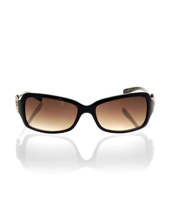 Black Animal Print Sunglasses, Black, hi-res