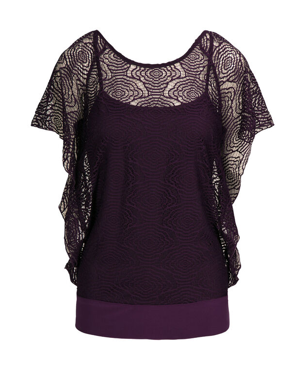 Crochet Overlay Dolman Top, Deep Purple, hi-res
