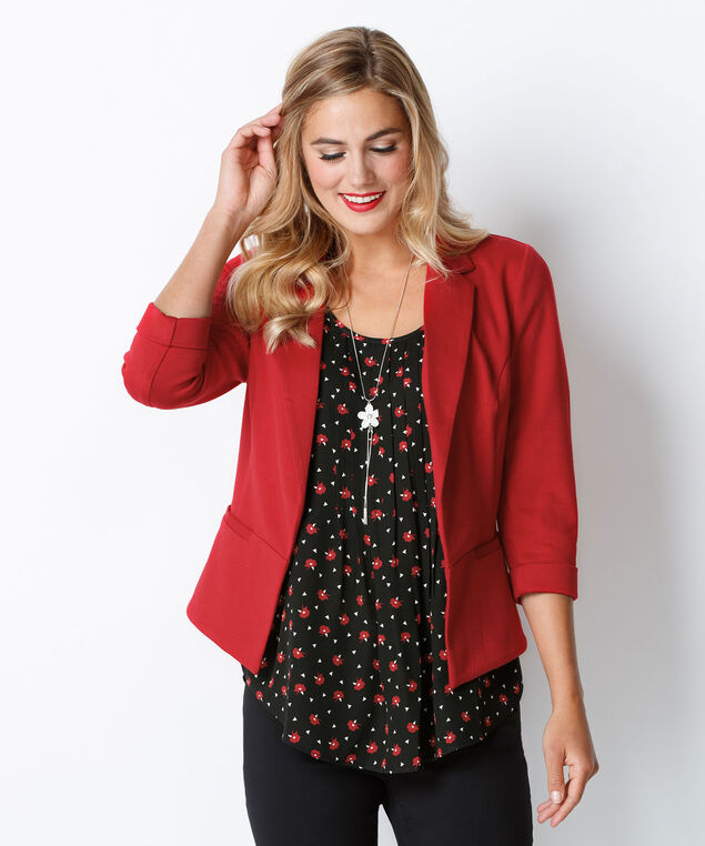 Floral Print Pleat Blouse, Red Print, hi-res