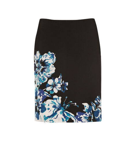 Border Print Pencil Skirt, Blue/Black Print, hi-res
