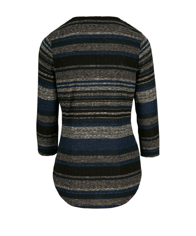 3/4 Sleeve Zip Top, Deep Teal Pattern, hi-res