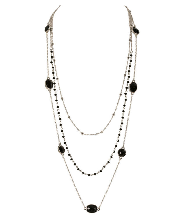 Layered Chain Bead Necklace, Black/Rhodium, hi-res