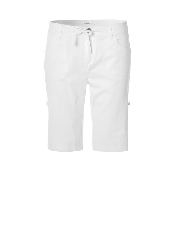 White Poplin Roll Up Short, White, hi-res