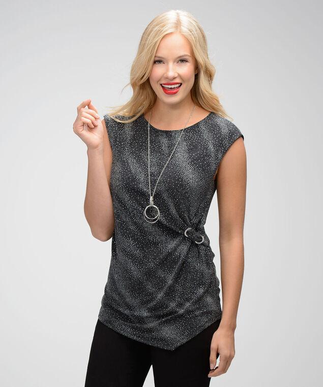 Asymmetric Glitter Top, Black/Silver, hi-res