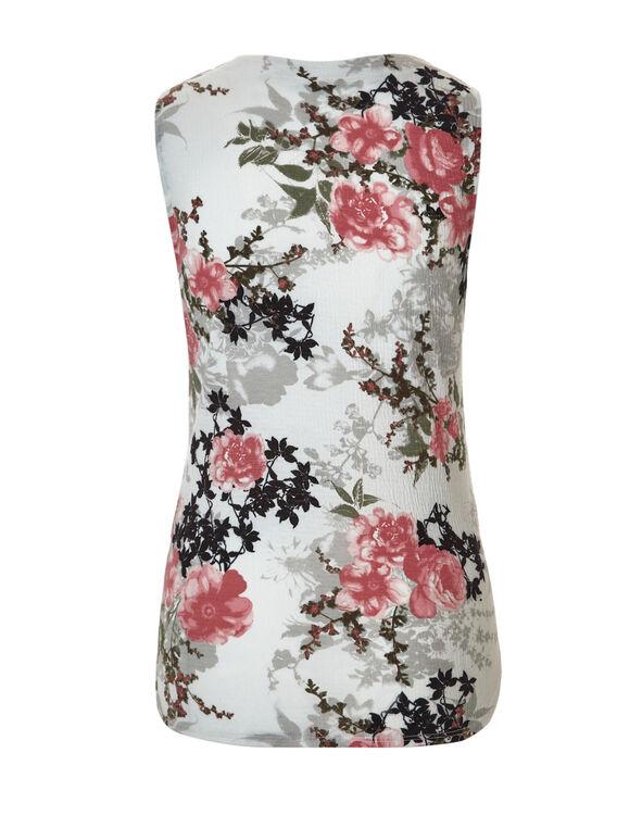 Floral Print V-Neck Top, Ivory/Coral/Stone, hi-res