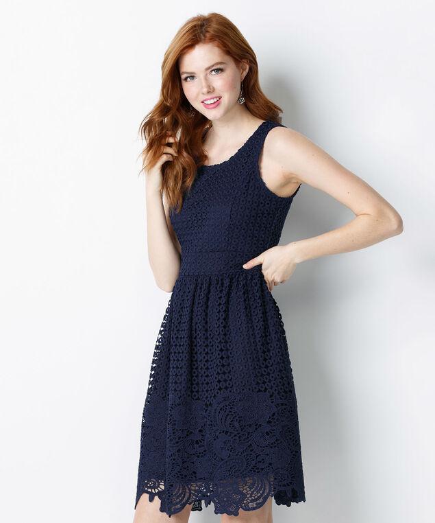Crochet Lace Overlay Dress, Deep Blue, hi-res