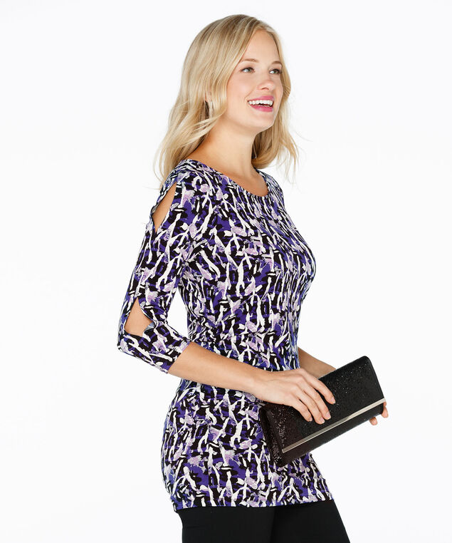 Cut Out Ruched Top, Purple Print, hi-res