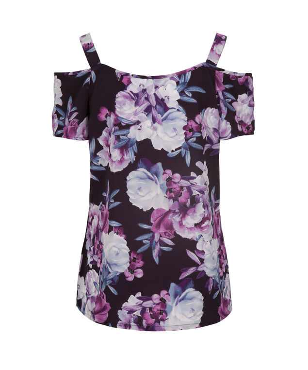 Cold Shoulder Blouse, Lilac Print, hi-res