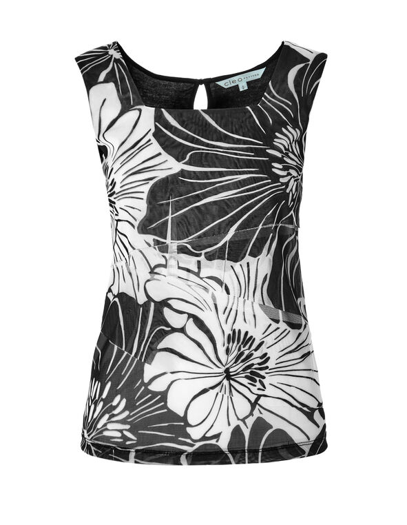 Floral Rumba Front Top, Black/White, hi-res