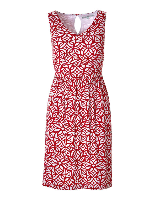 Red Print A-line Dress, Red, hi-res