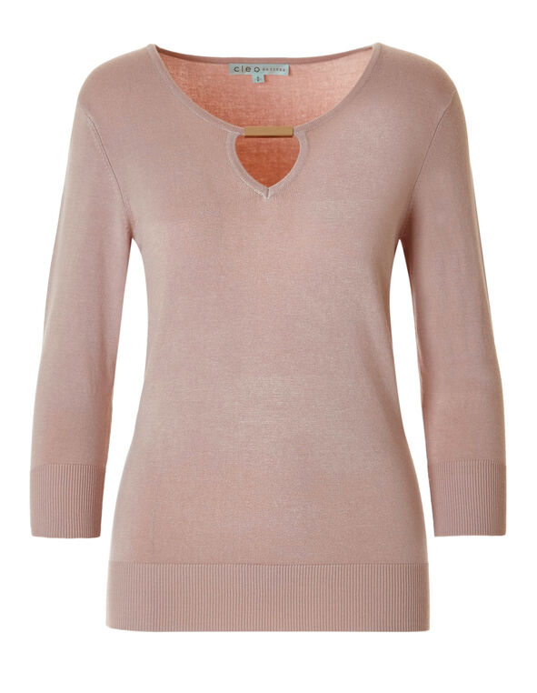Dusty Pink Metal Trim Sweater, Dusty Pink, hi-res
