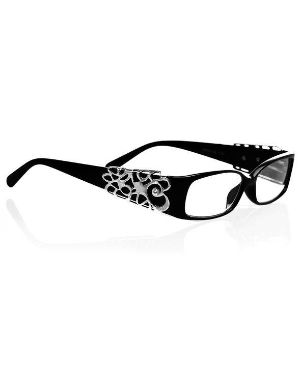 Black Filigree Detail Reader, Black/Rhodium, hi-res