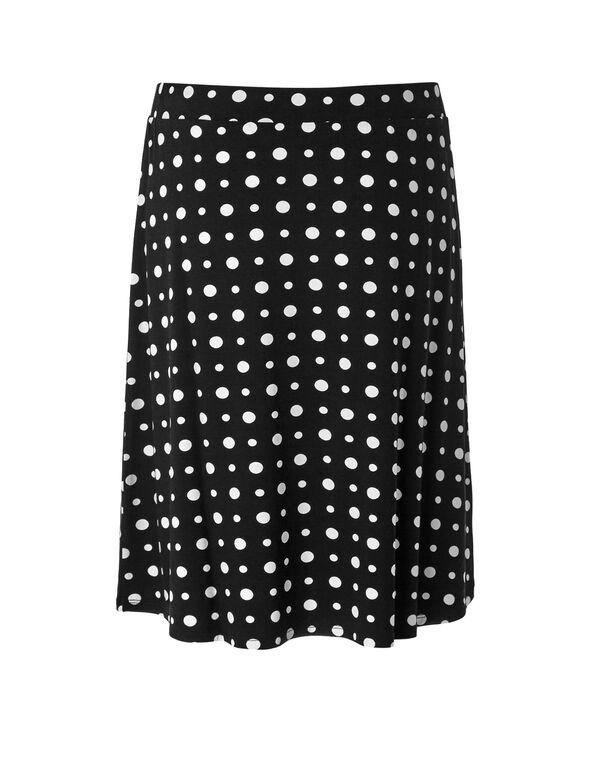 Polka Dot Flippy Skirt, Black/White, hi-res