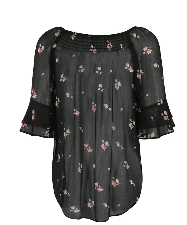 Smocked 2-Layer Blouse, Black/Pink Print, hi-res