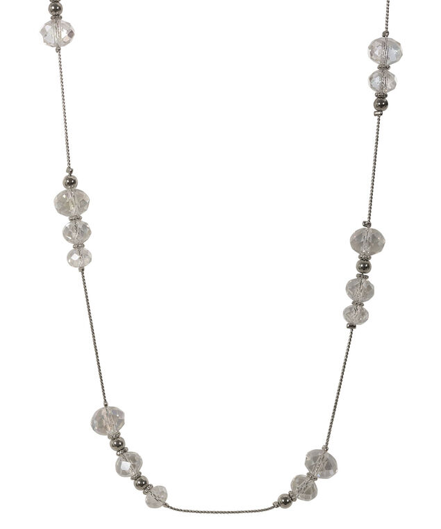 Faceted Stone Necklace, Rhodium, hi-res