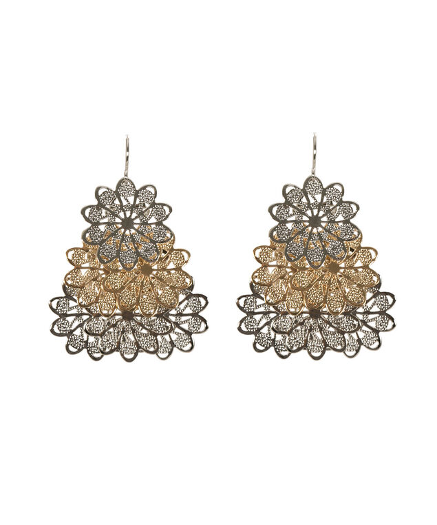 Etched Flower Earring, Rhodium/Soft Gold, hi-res