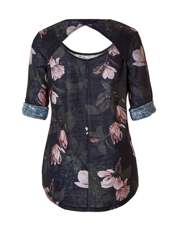 Floral Print Roll Sleeve Top, Navy/Olive/Clay, hi-res