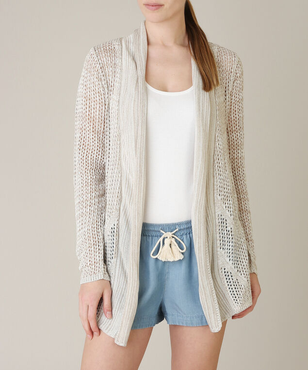 pointelle cardi with shawl collar - wb, NATURAL, hi-res