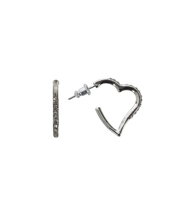 Heart Shape Earring, Rhodium, hi-res