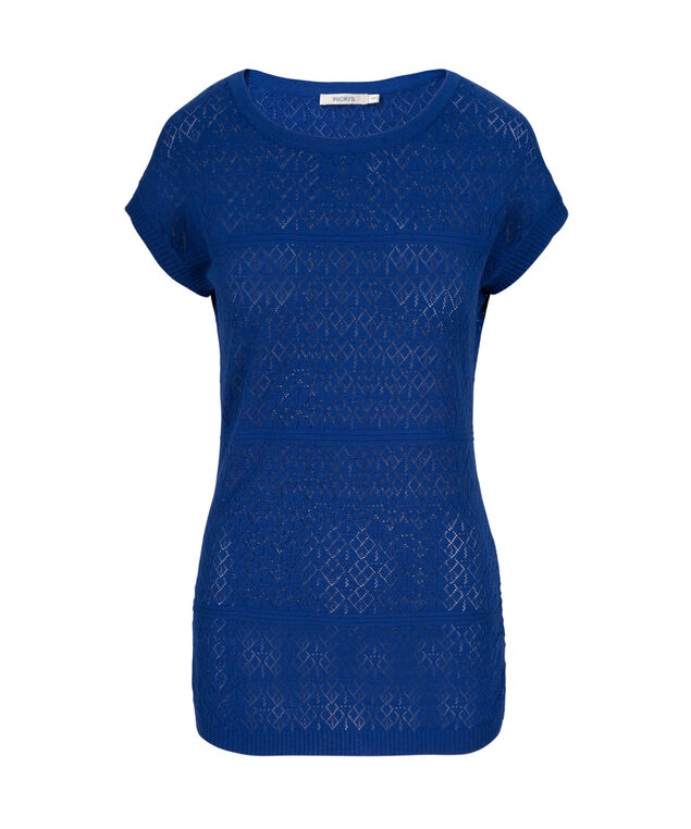 Pointelle Pullover, Ultra Blue, hi-res