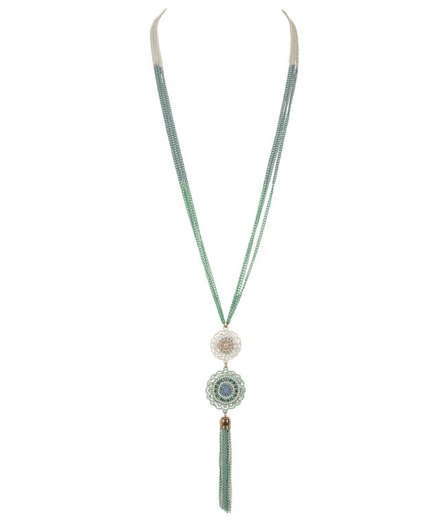 Multi Chain Tassel Pendant Necklace, Green/Blue/, hi-res