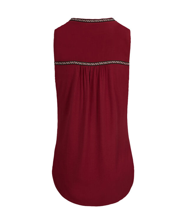 Embroidered Henley Tank, Cranberry, hi-res