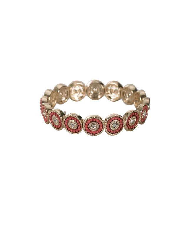 Metallic Circle Stretch Bracelet, Burnt Orange/Soft Gold, hi-res