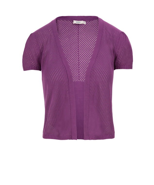 Pointelle Open Shrug, Purple, hi-res
