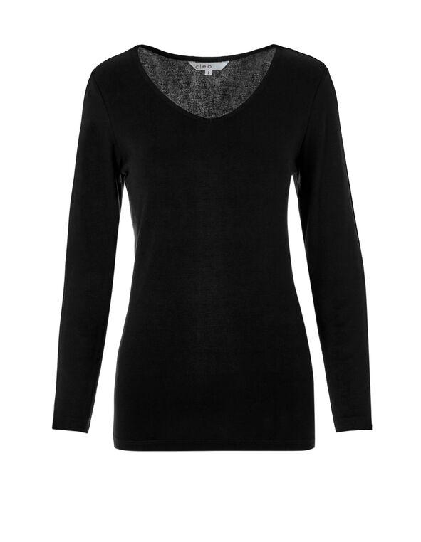 Long Sleeve V-Neck Top, Black/White, hi-res