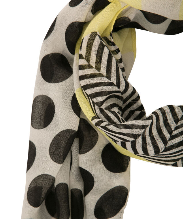 Polka Dot Stripe Eternity Scarf, Black/White/Yellow, hi-res