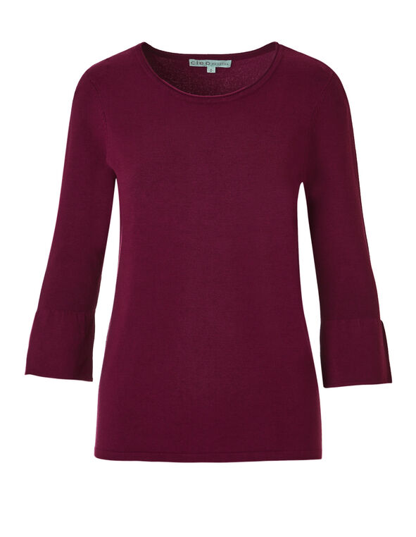 Claret Bell Sleeve Sweater, Claret, hi-res