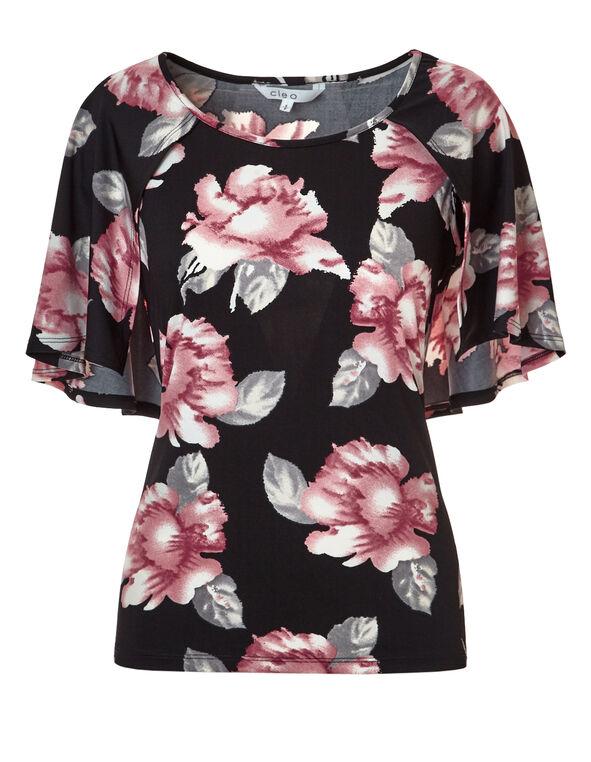 Peony Floral Caplet Top, Black/Peony/White/Grey, hi-res