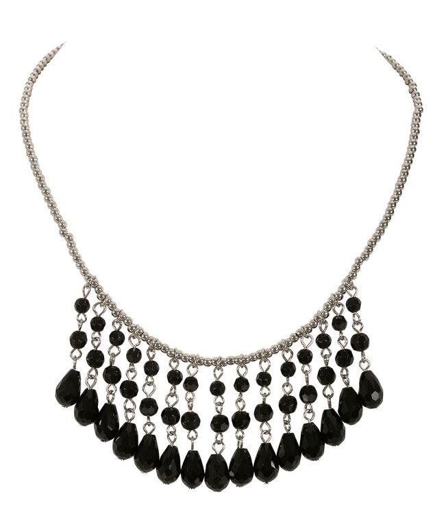Stone Mini Statement Necklace, Black/Rhodium, hi-res