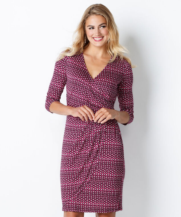 Side Wrap Dress, Pink Print, hi-res