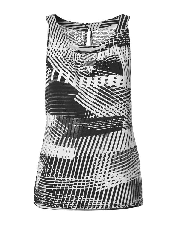 Black Abstract Metal Trim Top, Black/White, hi-res