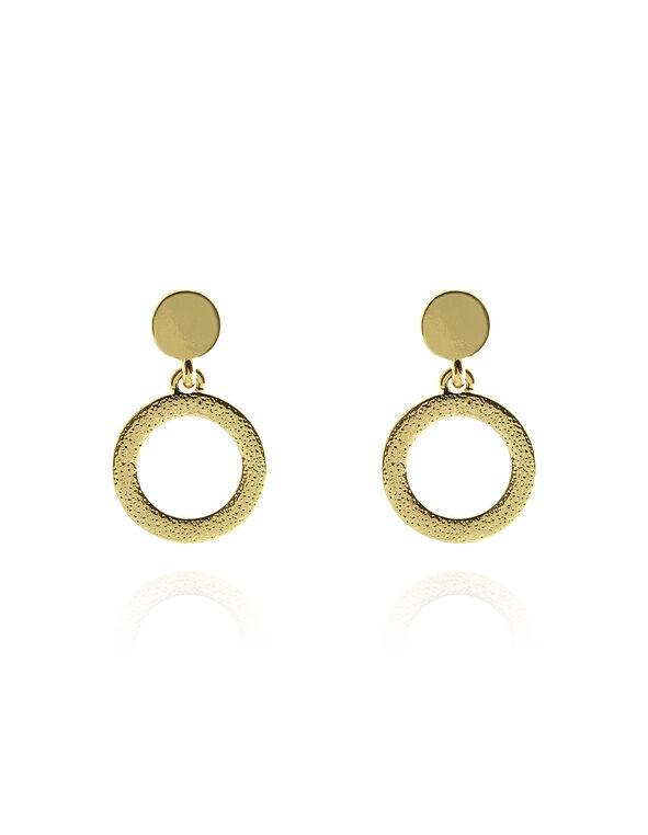 Gold Circle Drop Earring, Gold, hi-res