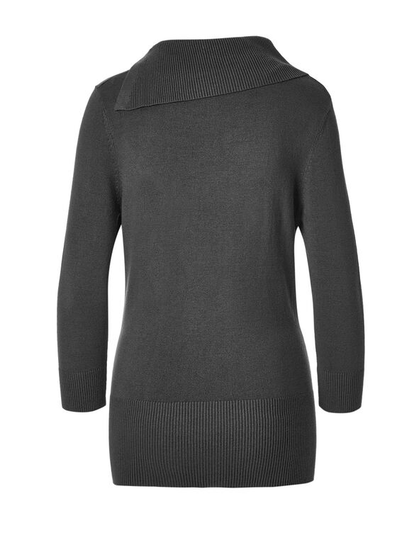 Charcoal Split Neck Sweater, Charcoal, hi-res