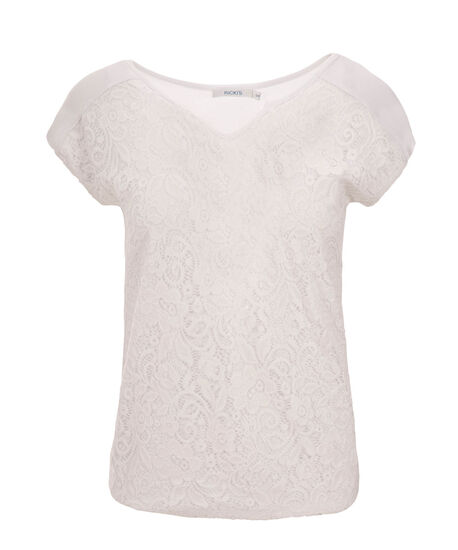 Extended Sleeve Lace Top, True White, hi-res