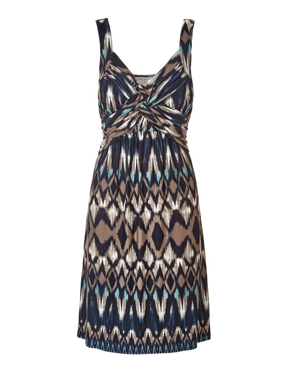 Turquoise Print Crossover Dress, Turquoise/Brown/Navy/White, hi-res