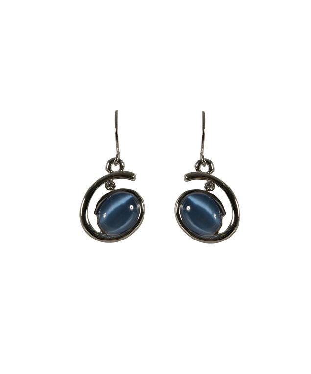 Swirl Frame Cateye Earring, Light Blue/Rhodium, hi-res